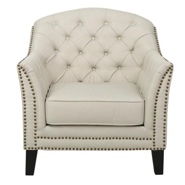 Noble House Ephraim Beige Fabric Studded Club Chair