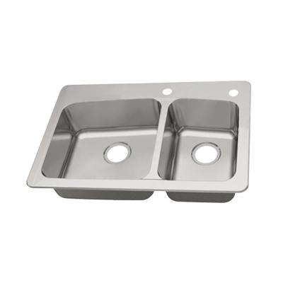 Dual Mount 18-Gauge Stainless Steel 33 in. 2-Hole 60/40 Double Bowl Kitchen Sink