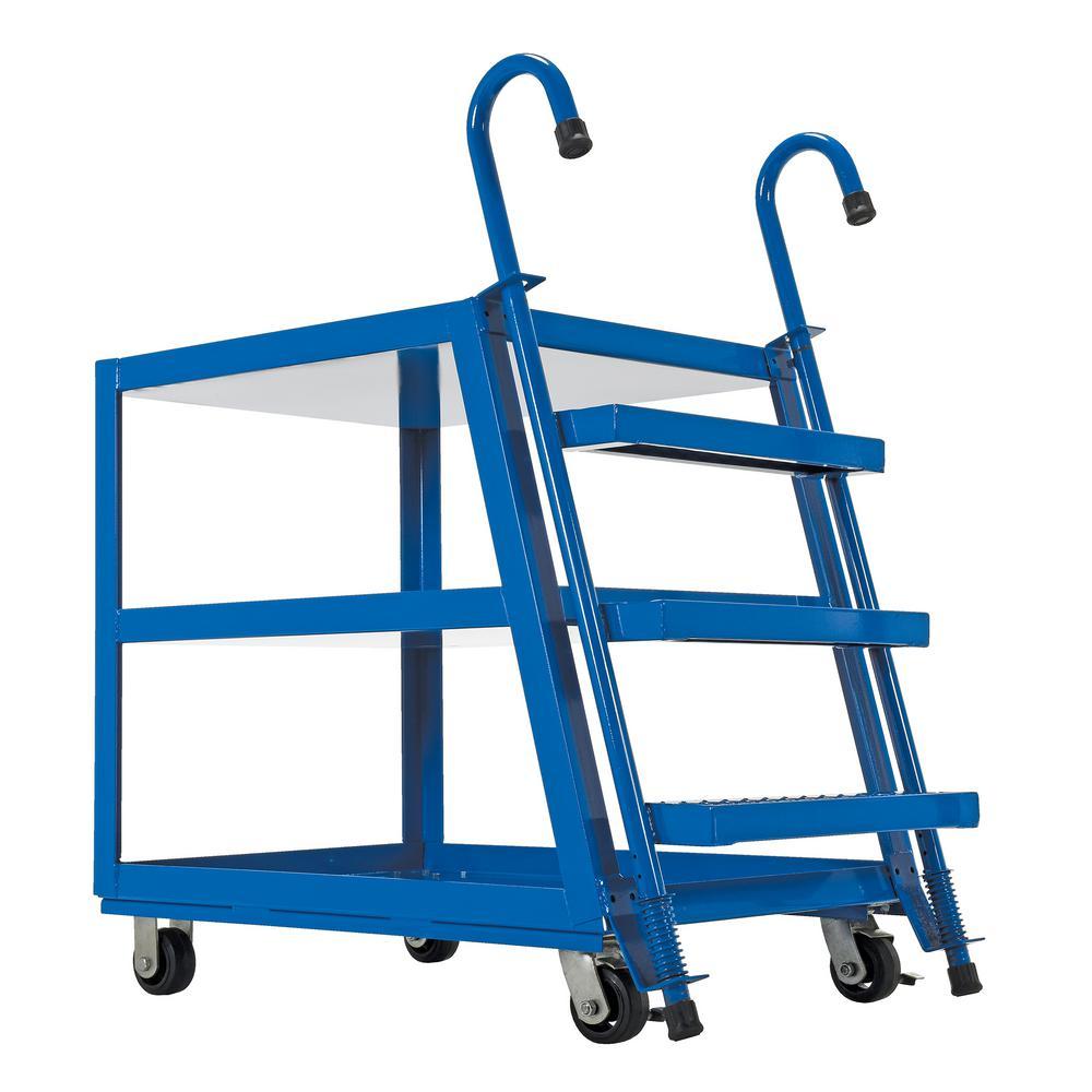 Vestil 1,000 lb. 28 in. x 48 in. Steel 3 Shelf Stock Picker Truck-Poly/Steel Wheel