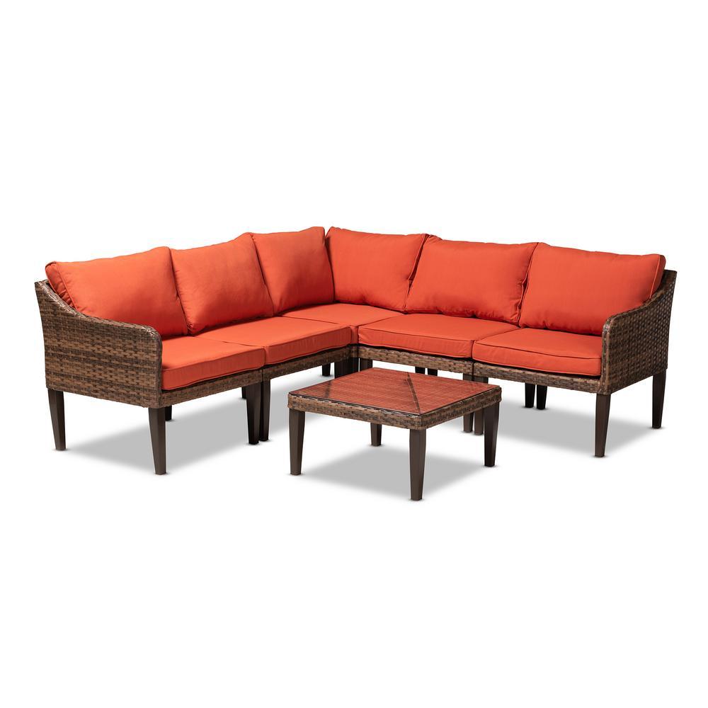 Breida 6-Piece Wicker Patio Conversation Set with Orange Cushions