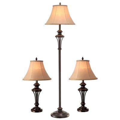 26.5 in. and 60 in. Bronze 2-Table Lamps and 1-Floor Lamp Combo Set