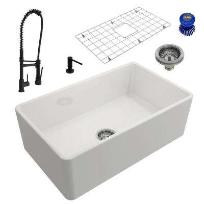 Classico All-in-One Farmhouse Fireclay 30 in. Single Bowl Kitchen Sink with Maggiore Rubbed Bronze Faucet and Soap Disp