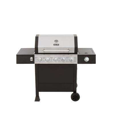 5-Burner Open Cart LP Gas Grill in Stainless Steel and Black with Side Burner