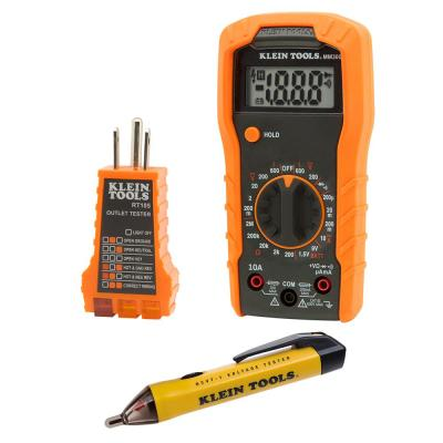 Multi-Meter, Non-Contact Voltage Tester and Outlet Tester Set with Carrying Case