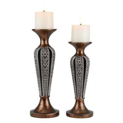 Silver And Bronze Everly Polyresin Candleholders (Set of 2)