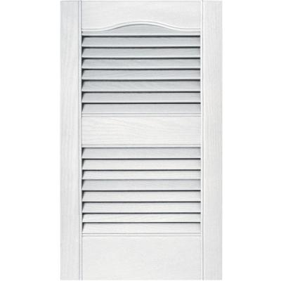 15 in. x 25 in. Louvered Vinyl Exterior Shutters Pair in #117 Bright White