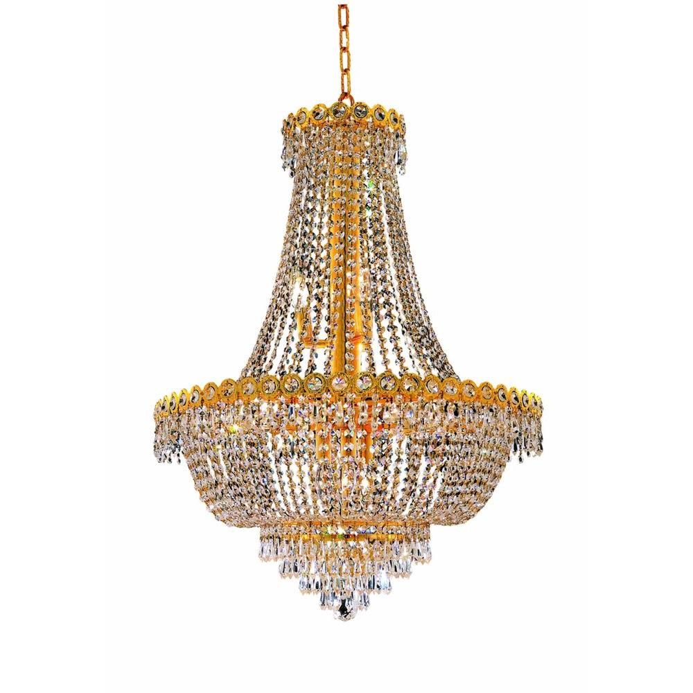 12-Light Gold Chandelier with Clear Crystal