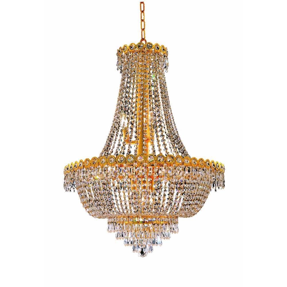 Elegant Lighting 12-Light Gold Chandelier with Clear Crystal