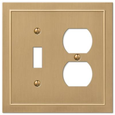 Bethany 2 Gang 1-Toggle and 1-Duplex Metal Wall Plate - Brushed Bronze