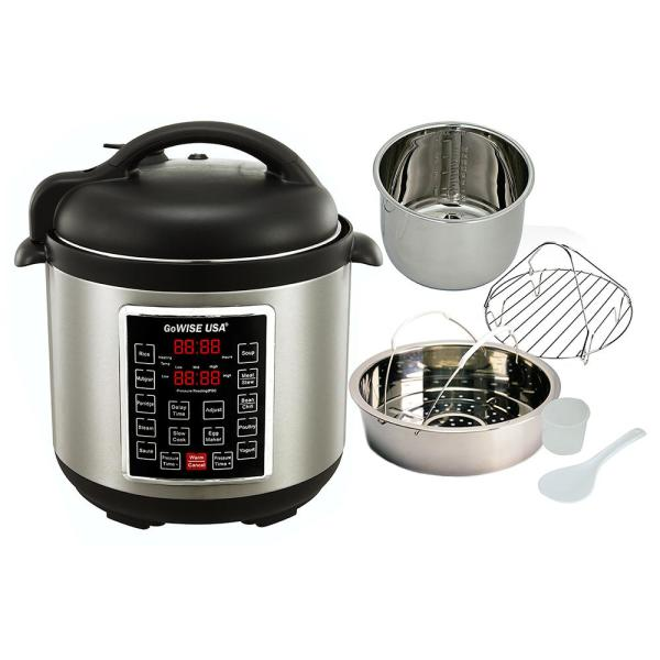 GoWISE USA - 6 Qt. Stainless Steel Electric Pressure Cooker with Steam Basket