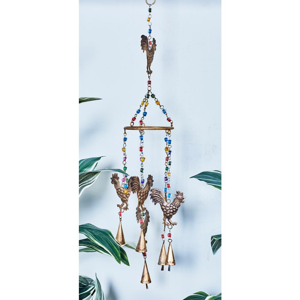 Rusted Brass Iron Roosters and Multi-Colored Glass Beads Wind Chime