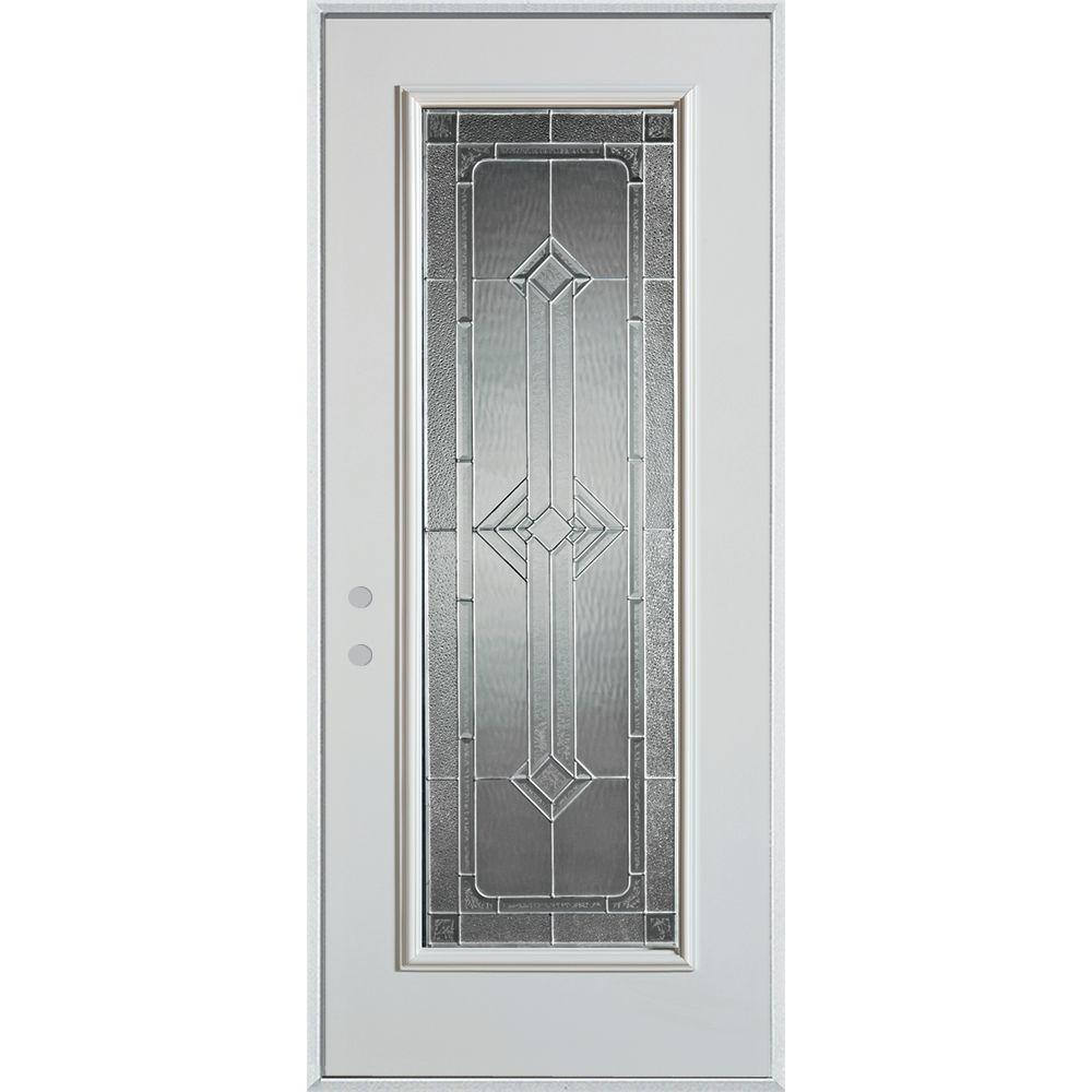 Stanley Doors 32 in. x 80 in. Neo-Deco Zinc Full Lite Painted White Right-Hand Inswing Steel Prehung Front Door