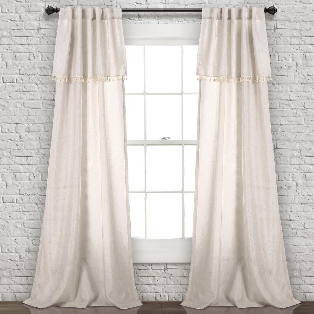 "Ivy Tassel Window Panels Neutral 84"" x 40"" 2-Pc Set 90% Polyester, 10% Linen"