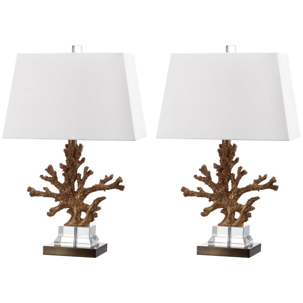Safavieh Bashi 23.5 in. Gold/Clear Base Table Lamp with White Shade