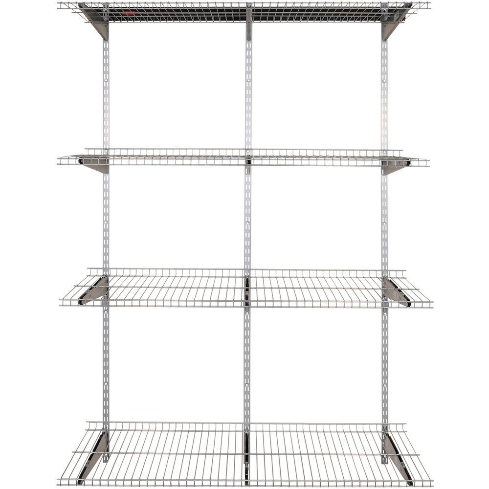 Rubbermaid FastTrack Garage 4-Shelf 16 in. x 48 in. Silver Metallic ...