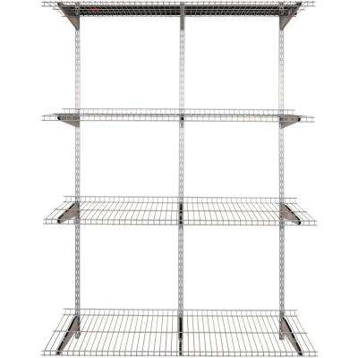 FastTrack 4-Shelf 16 in. x 48 in. Silver Metallic Wire Shelves with 47 in. Upright and Extension with Rail Kit