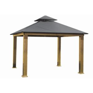 14 ft. x 14 ft. ACACIA Aluminum Gazebo with Storm Gray Canopy by