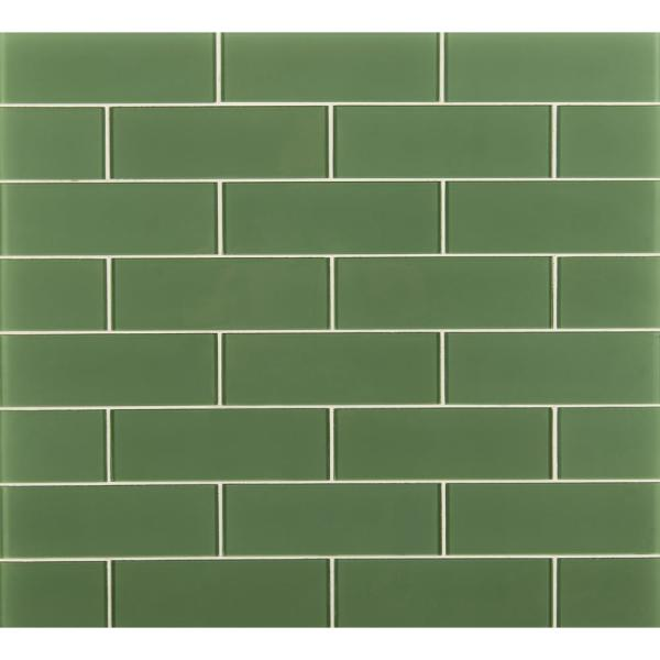 Msi Evergreen 9 In X 3 In X 8 Mm Matte Glass Green Subway Tile 0 19 Sq Ft Gl T Eve39 The Home Depot