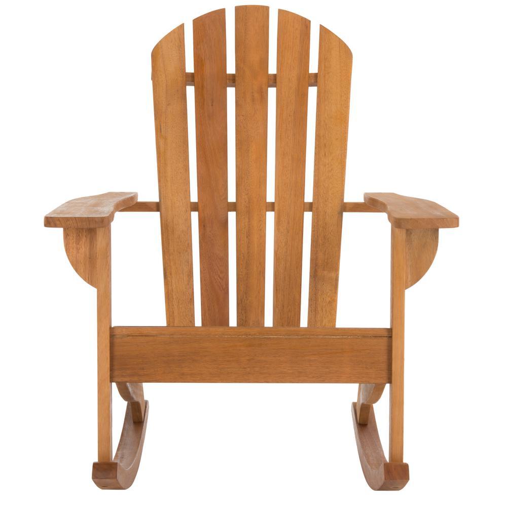 Brizio Natural Brown Wood Outdoor Rocking Chair