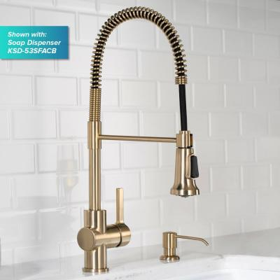 Britt Single-Handle Spring Coil Kitchen Faucet in Spot Free Antique Champagne Bronze