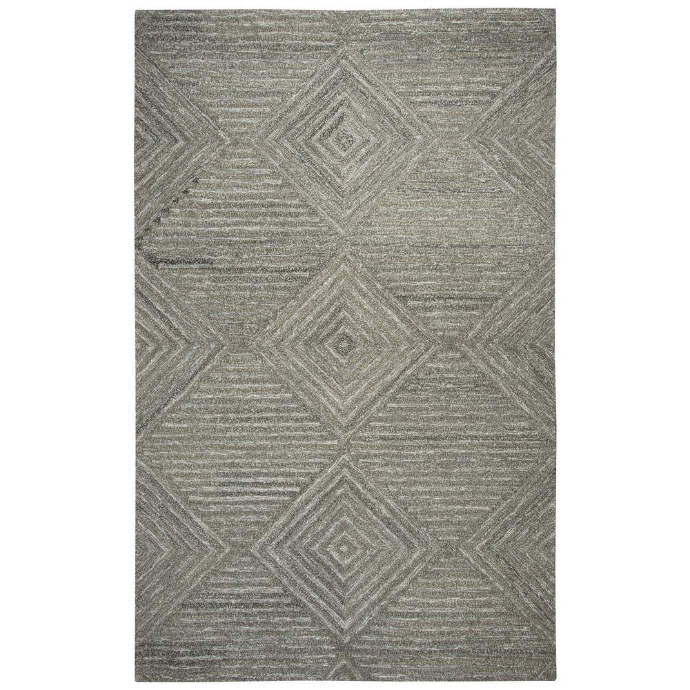 Suffolk Dark Grey Solid/Gradient Geometric 8 ft. x 10 ft. Area Rug