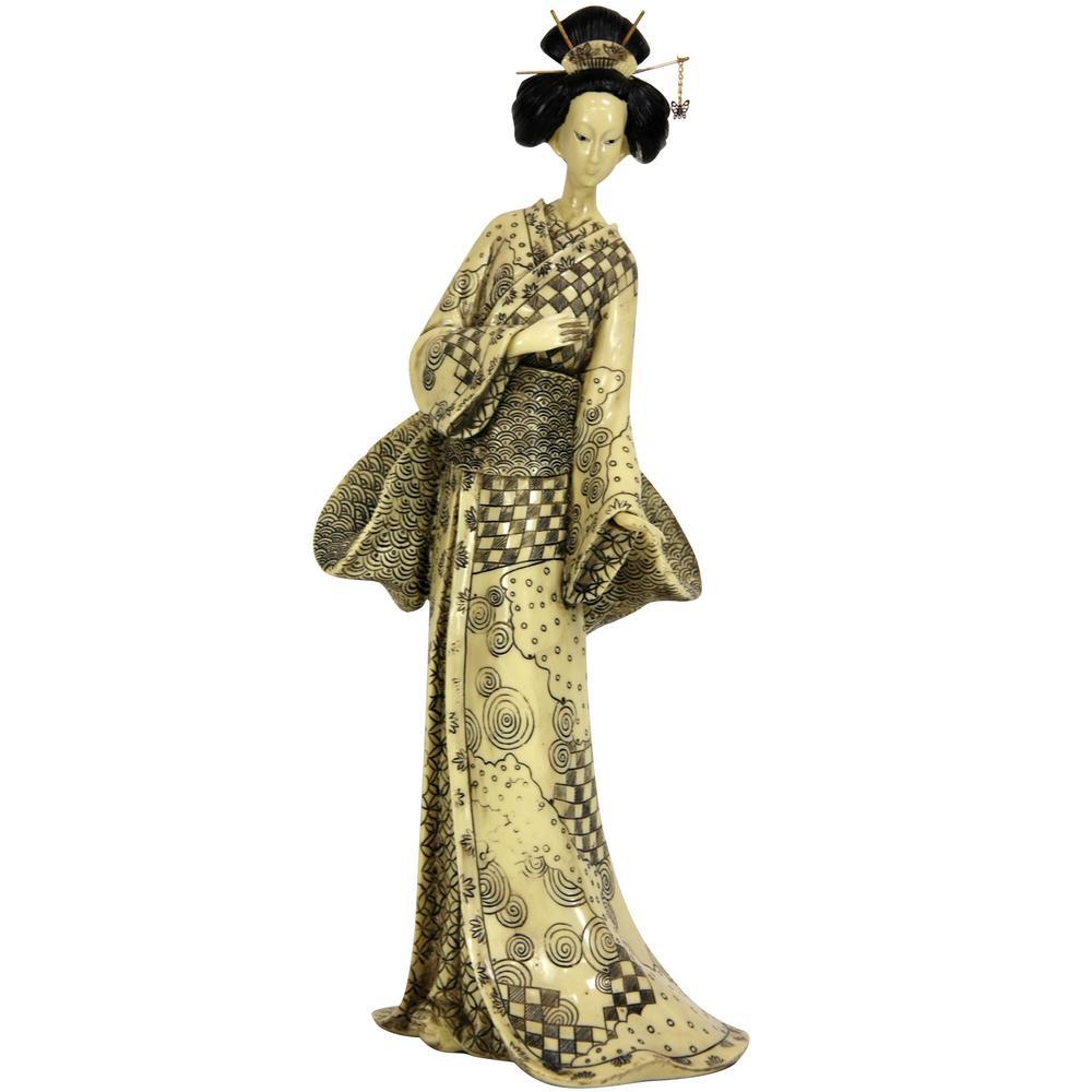 Oriental Furniture 16 In Geisha With Nature Symbols
