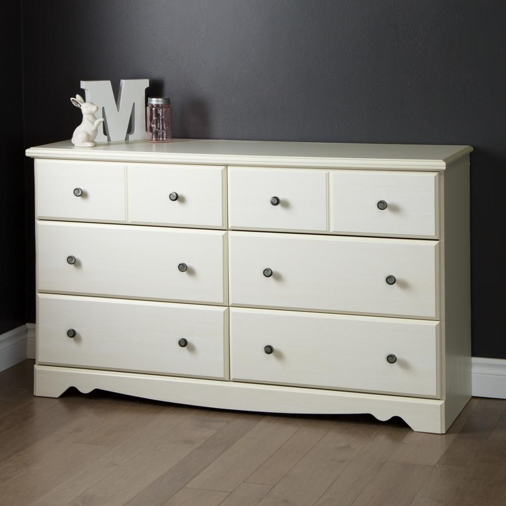 South Shore Country Poetry 6 Drawer White Wash Dresser 9031027 The