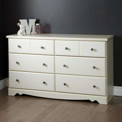 Country Poetry 6-Drawer White Wash Dresser