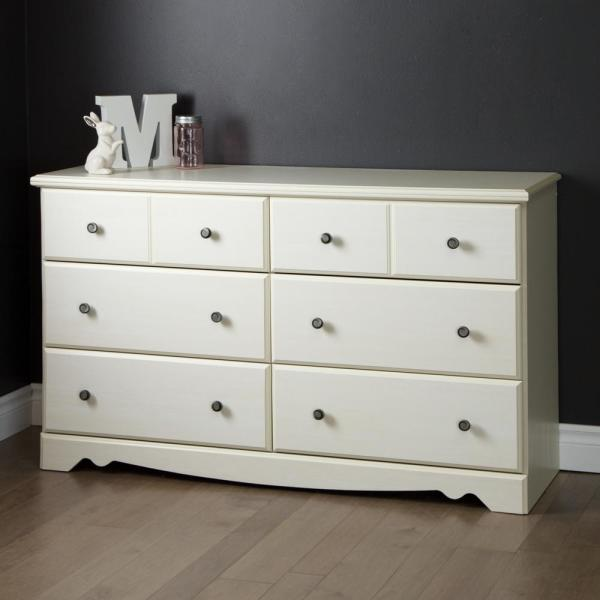 South Shore Country Poetry 6-Drawer White Wash Dresser 9031027