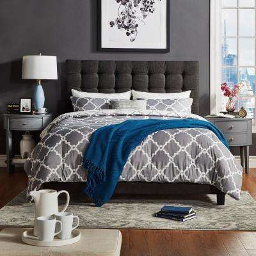 Cadley Dark Grey Button Tufted Full Standard Bed