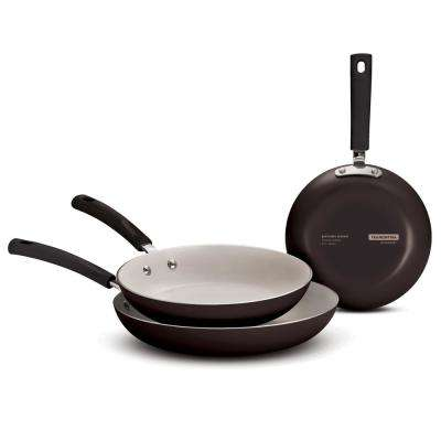 Style 3-Piece Ceramic Aluminum Fry Pan in Black Cherry