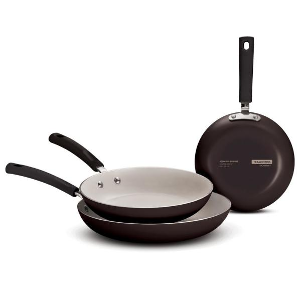 Tramontina Style 3-Piece Ceramic Aluminum Fry Pan in Black Cherry
