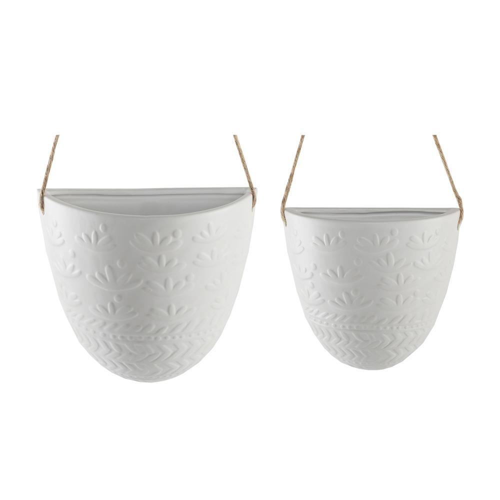 Flora Bunda 7.75 in. and 5.75 in. Matte White Wreath Ceramic Haning Wall Pocket Planter(Set of 2)