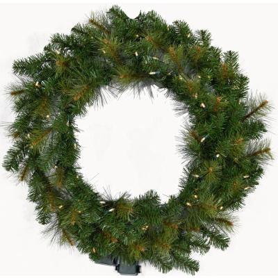 5 ft. Pre-Lit Wreath Arrangement with Warm White LED Lights