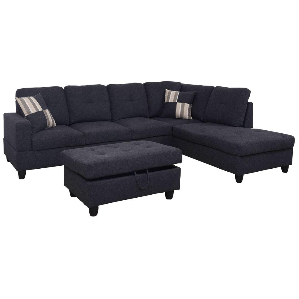 Black Microfiber Left Chaise Sectional With Storage Ottoman