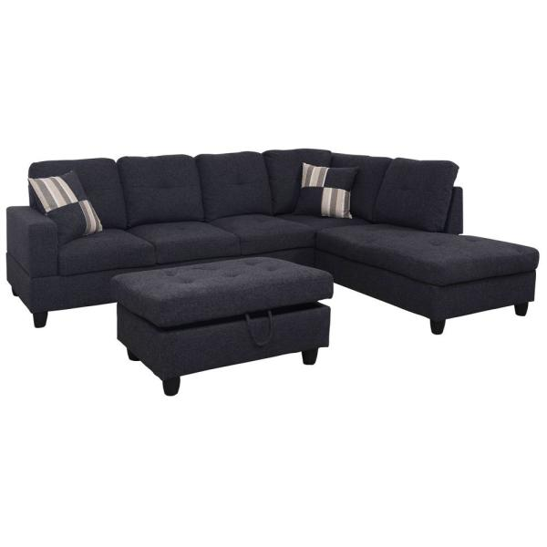 undefined Black linen  Left Chaise Sectional with Storage Ottoman