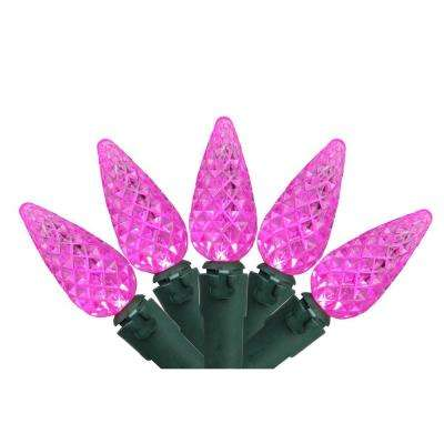 Set of 70 Pink LED C6 Christmas Lights with Green Wire