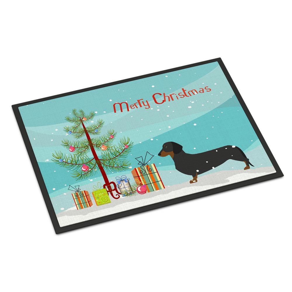18 in. x 27 in. Indoor/Outdoor Dachshund Merry Christmas Tree Door