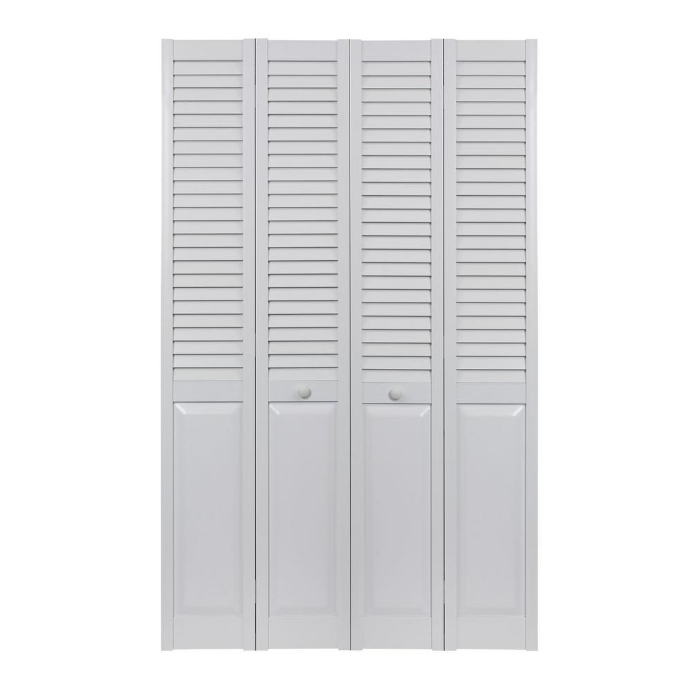 72 in. x 80 in. Seabrooke Louver Over Panel White Hollow Core PVC Vinyl Interior Bi-Fold Door