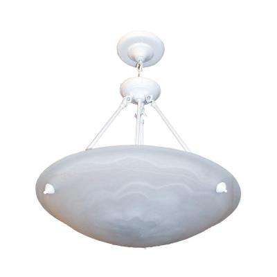 3-Light White Chandelier with Marbleized Alabaster Glass Shade