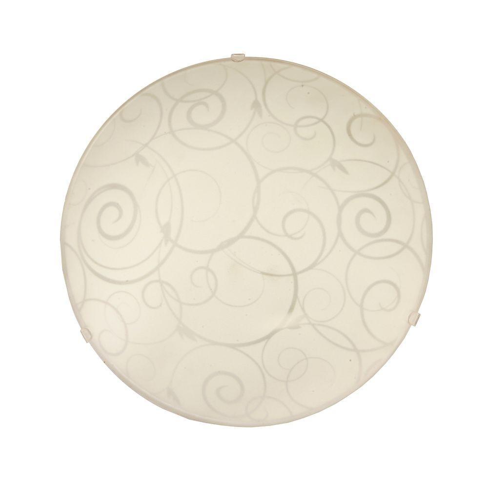 Scroll Swirl Design 1-Light White Ceiling Round Flushmount