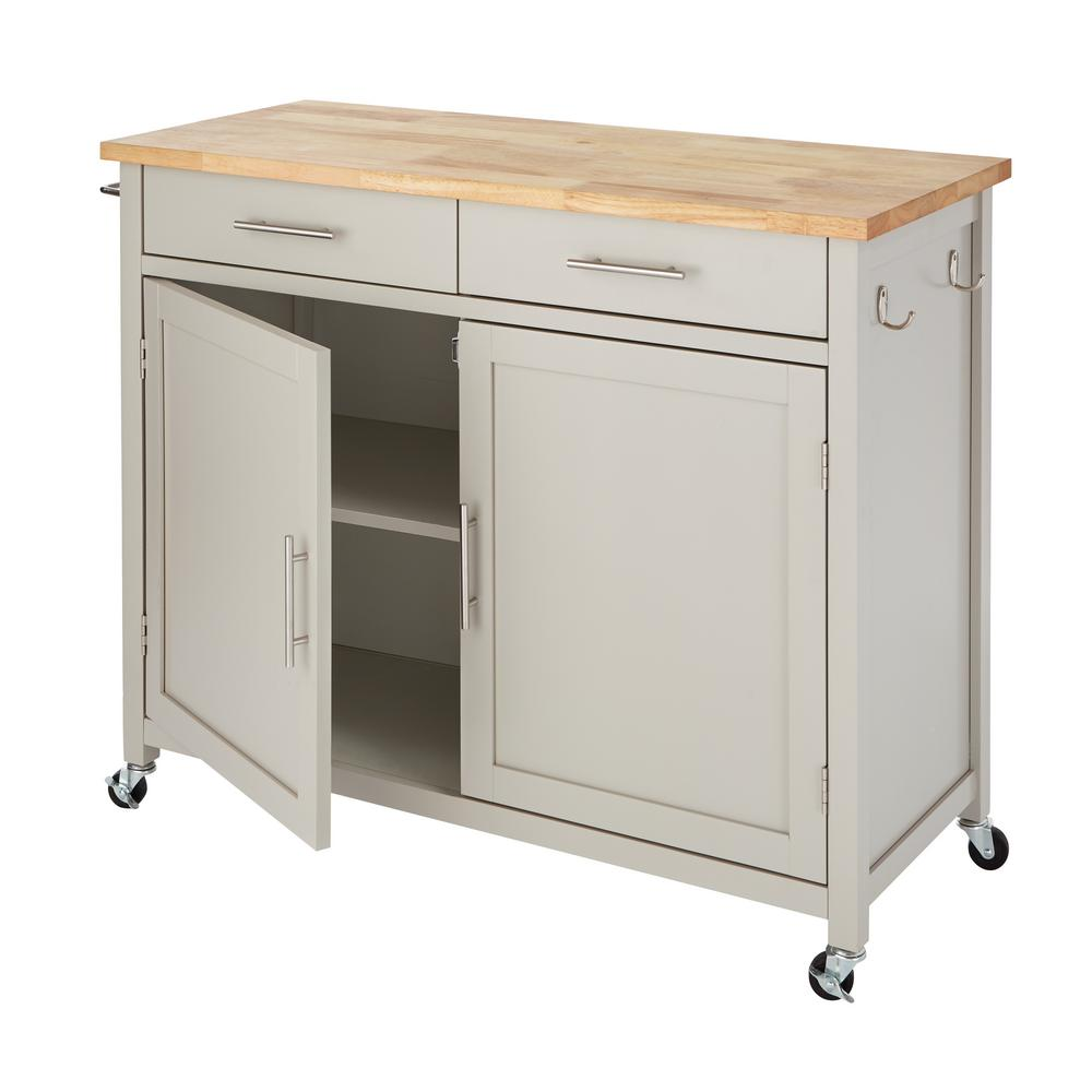 Stylewell Glenville Grey Rolling Kitchen Cart With Butcher
