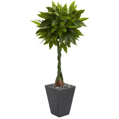 Real Touch 5 ft. High Indoor Money Artificial Tree in Slate Planter