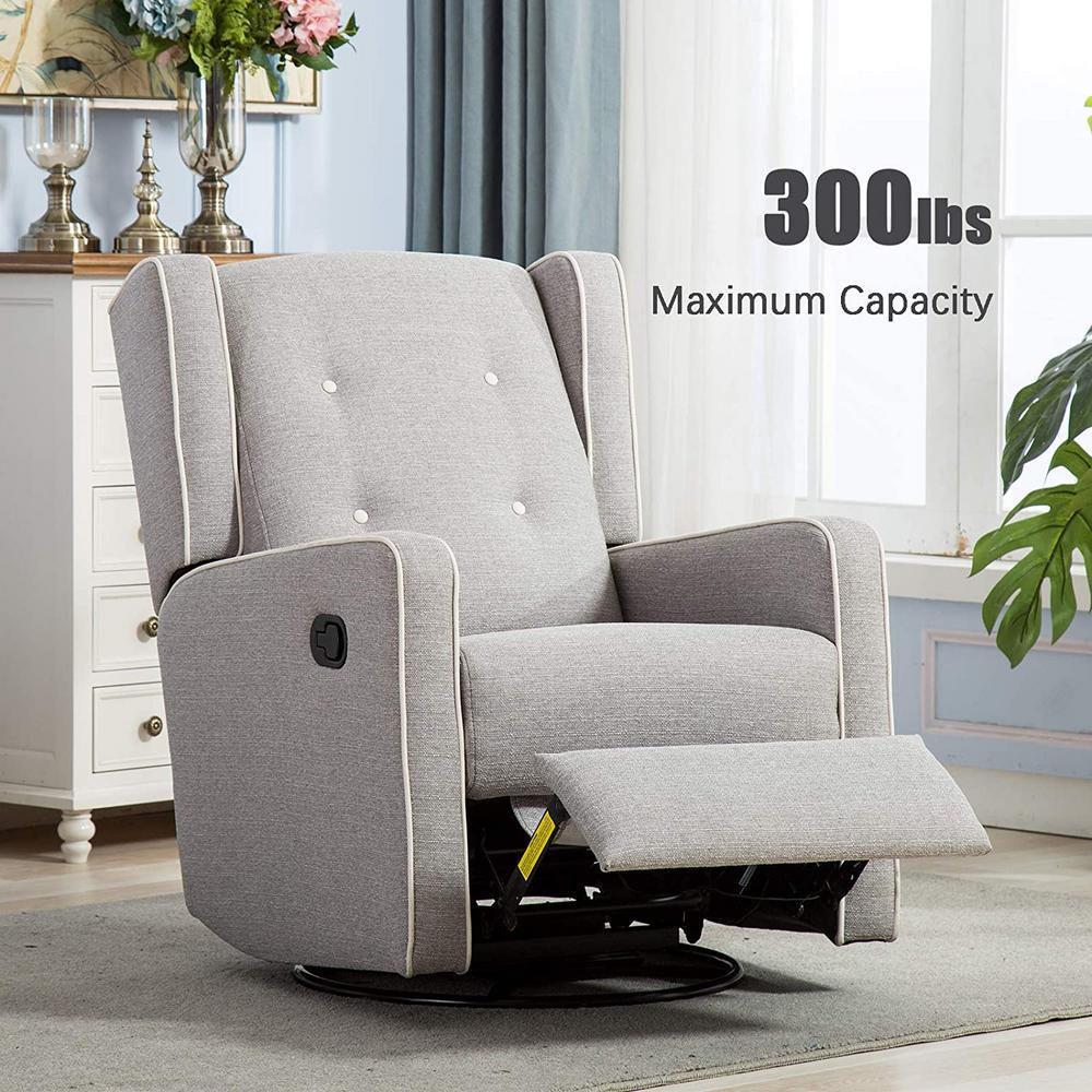 Light Gray Swivel Rocker Recliner Chair Manual Reclining Chair Single Seat Reclining Chair