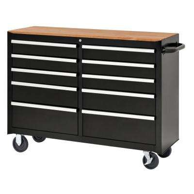 52 in. 10-Drawer Center Roller Cabinet Tool Chest in Black