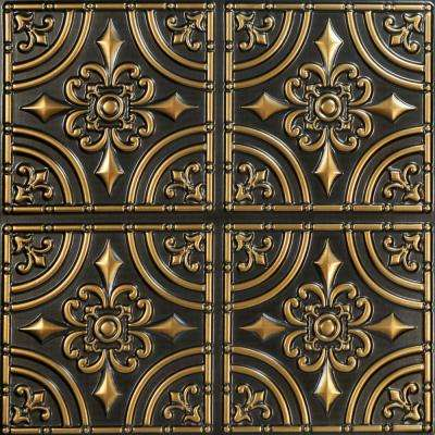 Wrought Iron 2 ft. x 2 ft. PVC Glue-up Ceiling Tile in Antique Gold