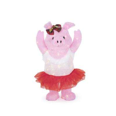33 in. Warm White LED Dancing Pig with Bow and Greenery