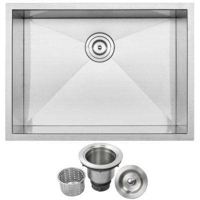 Pacific Zero Radius Undermount 16-Gauge Stainless Steel 26 in. Single Basin Kitchen Sink with Basket Strainer