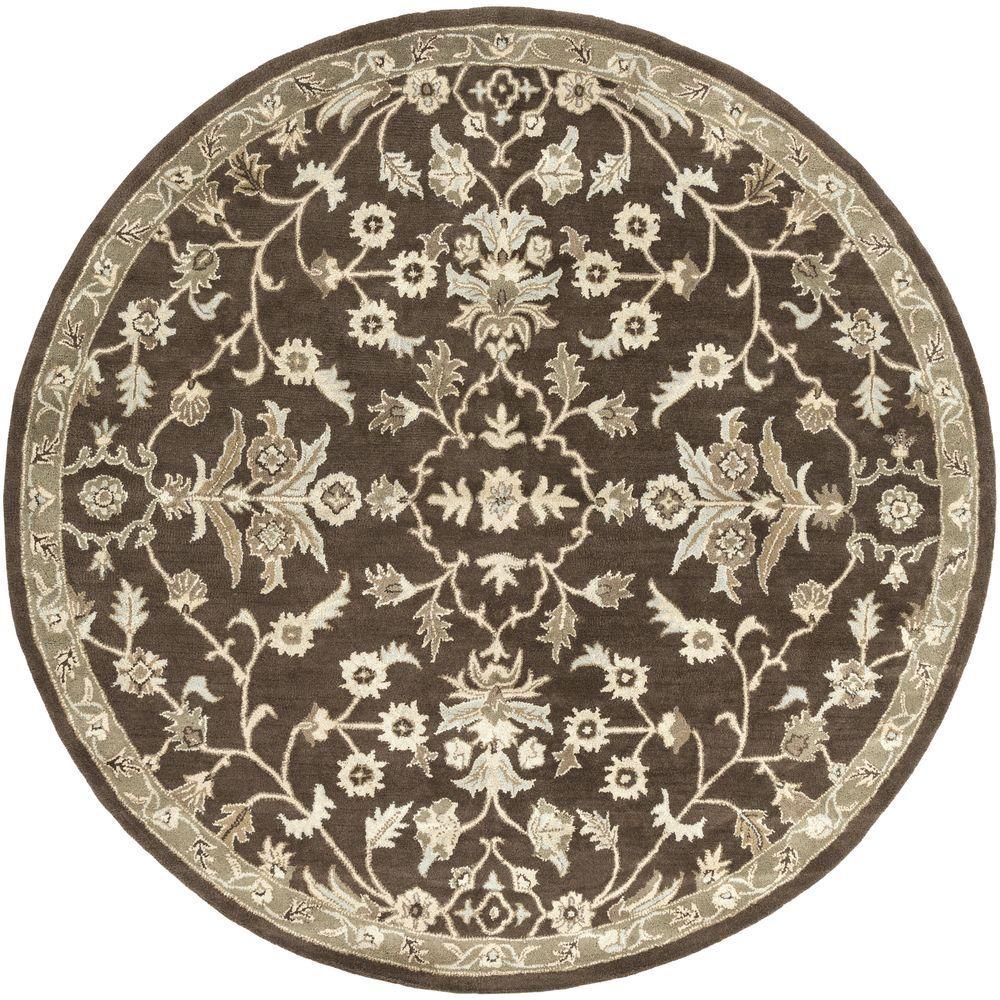 Zari Chocolate (Brown) 9 ft. 9 in. x 9 ft. 9 in. Round Indoor Area Rug