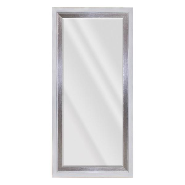 64.5 in. X 30.5 in. Contemporary Rectangle Framed Beveled Glass Leaning Mirror in White